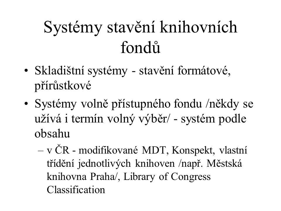 Systémy stavění knihovních fondů Skladištní systémy - stavění formátové, přírůstkové Systémy volně přístupného fondu /někdy se užívá i termín volný vý