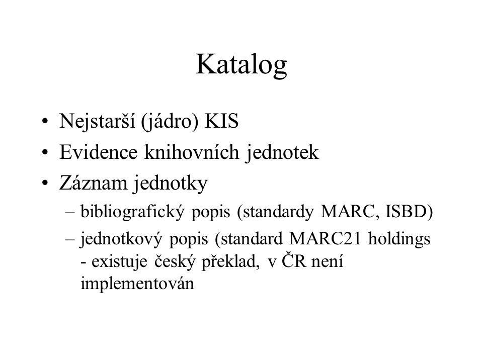 Katalog Nejstarší (jádro) KIS Evidence knihovních jednotek Záznam jednotky –bibliografický popis (standardy MARC, ISBD) –jednotkový popis (standard MA