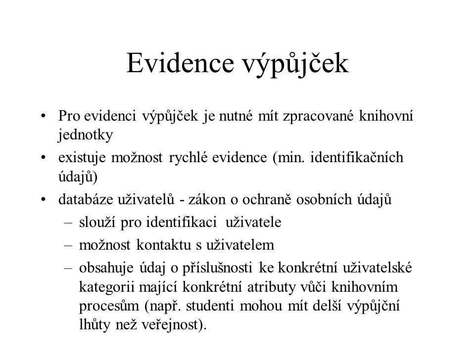 Evidence výpůjček Pro evidenci výpůjček je nutné mít zpracované knihovní jednotky existuje možnost rychlé evidence (min. identifikačních údajů) databá