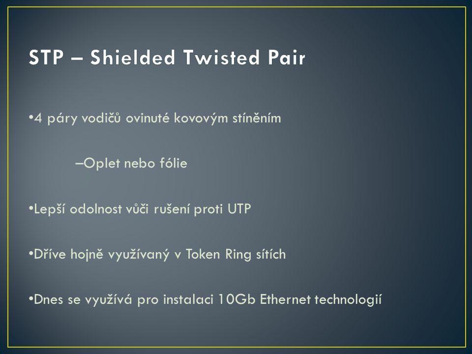 4 páry vodičů ovinuté kovovým stíněním –Oplet nebo fólie Lepší odolnost vůči rušení proti UTP Dříve hojně využívaný v Token Ring sítích Dnes se využív