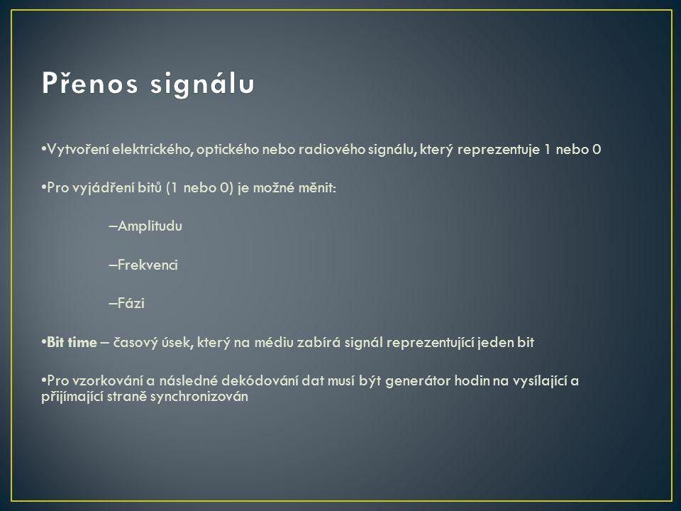 Vytvoření elektrického, optického nebo radiového signálu, který reprezentuje 1 nebo 0 Pro vyjádření bitů (1 nebo 0) je možné měnit: –Amplitudu –Frekve