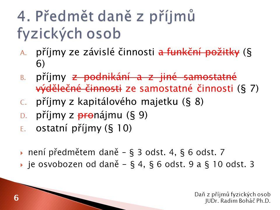 Daň z příjmů fyzických osob JUDr.Radim Boháč Ph.D.