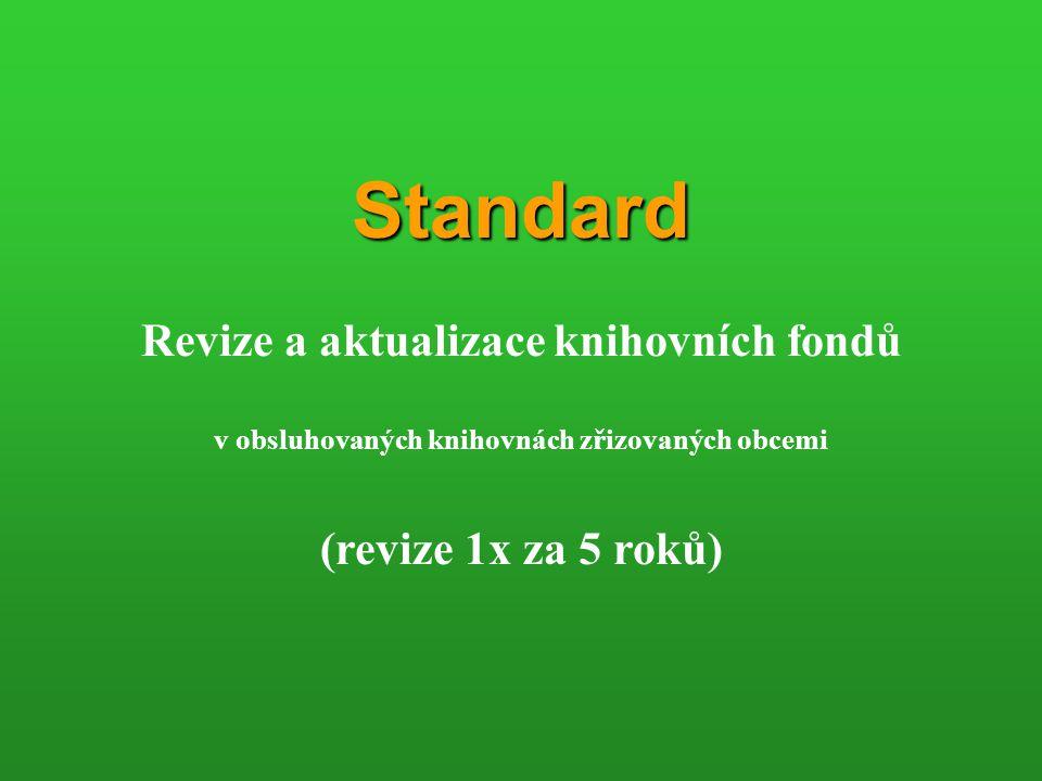 Standard Revize a aktualizace knihovních fondů v obsluhovaných knihovnách zřizovaných obcemi (revize 1x za 5 roků)