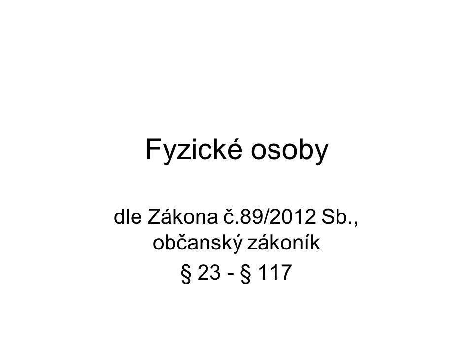 Fyzické osoby dle Zákona č.89/2012 Sb., občanský zákoník § 23 - § 117