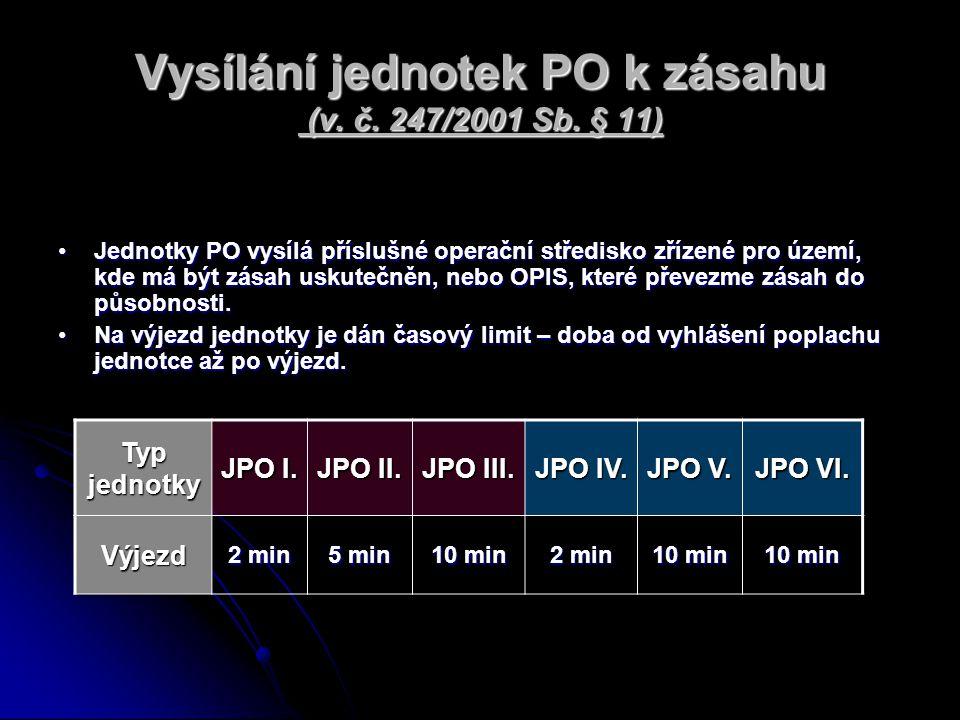 Vysílání jednotek PO k zásahu (v. č. 247/2001 Sb. § 11) Jednotky PO vysílá příslušné operační středisko zřízené pro území, kde má být zásah uskutečněn