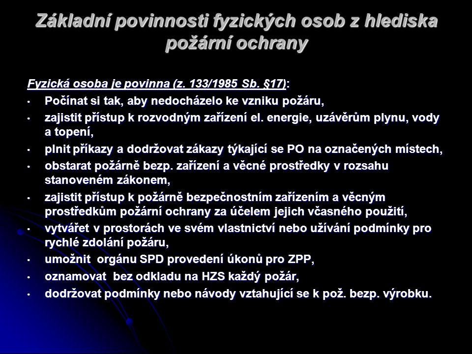 Základní povinnosti fyzických osob z hlediska požární ochrany Fyzická osoba je povinna (z. 133/1985 Sb. §17): Počínat si tak, aby nedocházelo ke vznik