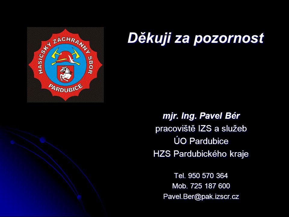 mjr.Ing. Pavel Bér pracoviště IZS a služeb ÚO Pardubice HZS Pardubického kraje Tel.