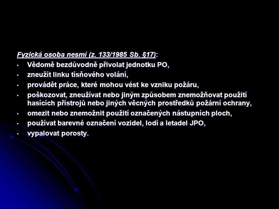 Fyzická osoba nesmí (z. 133/1985 Sb. §17): Vědomě bezdůvodně přivolat jednotku PO, Vědomě bezdůvodně přivolat jednotku PO, zneužít linku tísňového vol