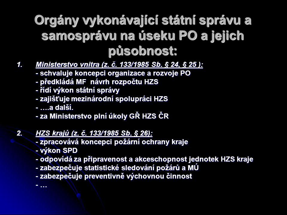 1.Ministerstvo vnitra (z. č. 133/1985 Sb. § 24, § 25 ): - schvaluje koncepci organizace a rozvoje PO - předkládá MF návrh rozpočtu HZS - řídí výkon st