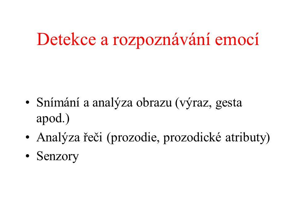 Detekce a rozpoznávání emocí Snímání a analýza obrazu (výraz, gesta apod.) Analýza řeči (prozodie, prozodické atributy) Senzory