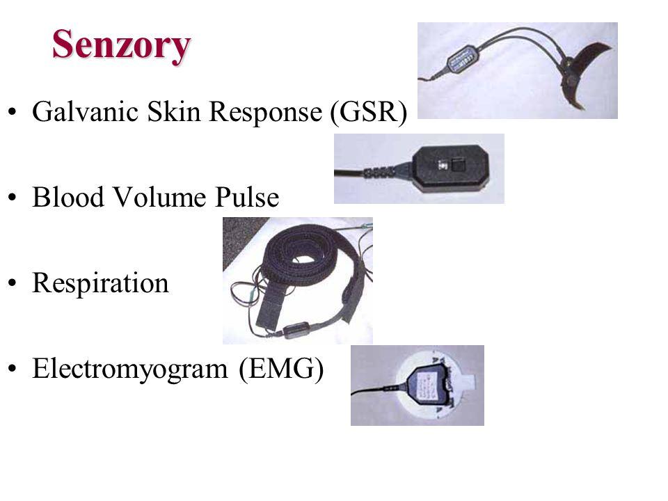 Senzory Galvanic Skin Response (GSR) Blood Volume Pulse Respiration Electromyogram (EMG)