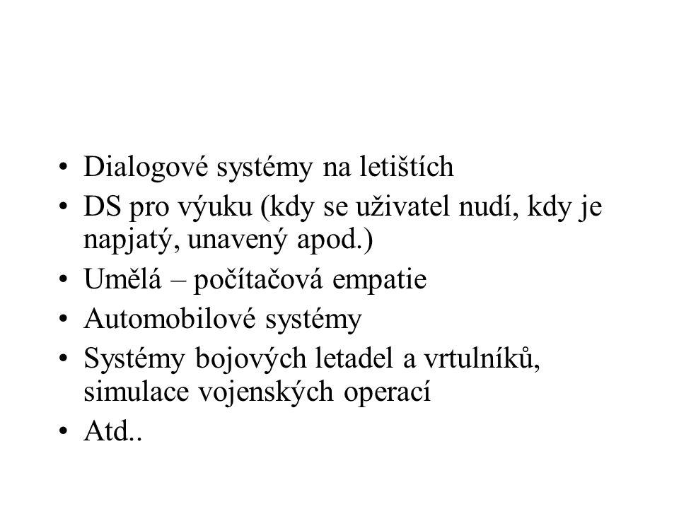 Dialogové systémy na letištích DS pro výuku (kdy se uživatel nudí, kdy je napjatý, unavený apod.) Umělá – počítačová empatie Automobilové systémy Syst