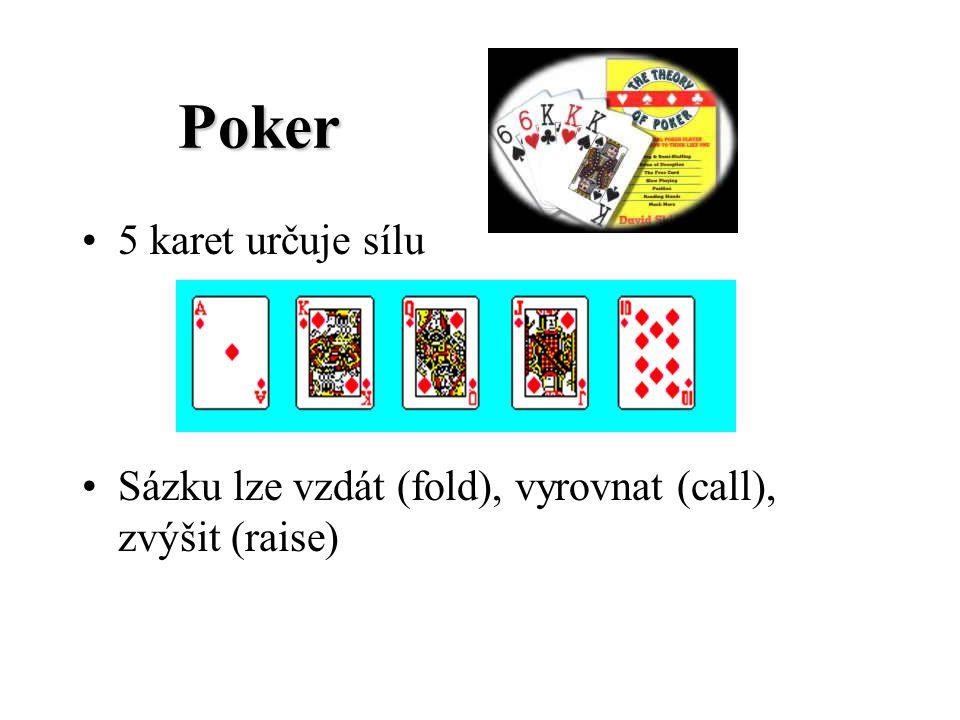 Poker Poker 5 karet určuje sílu Sázku lze vzdát (fold), vyrovnat (call), zvýšit (raise)