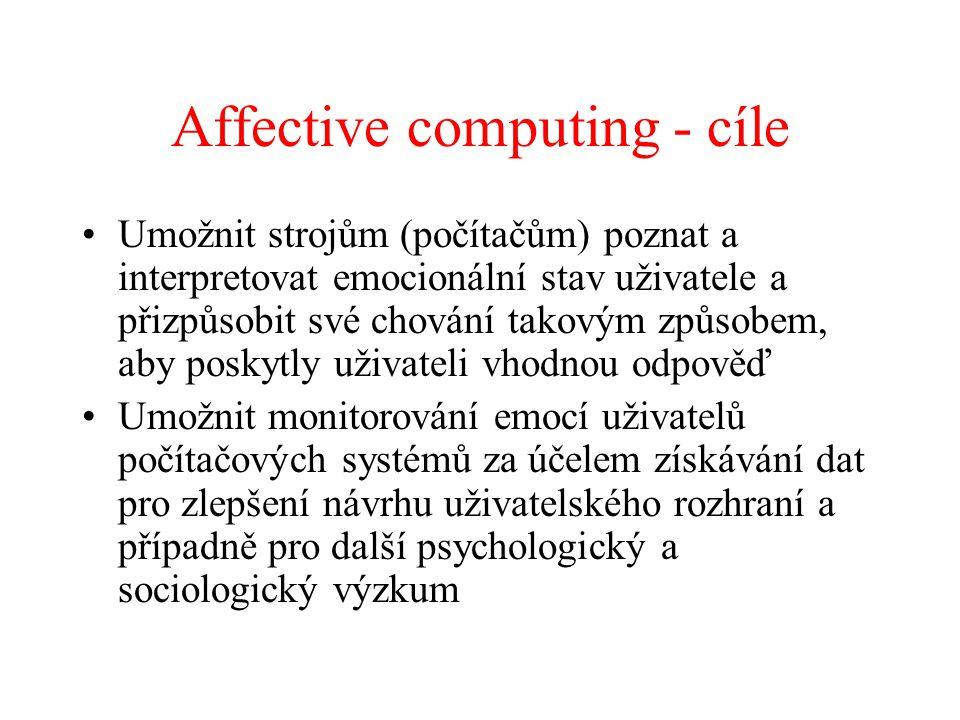 Affective computing - cíle Umožnit strojům (počítačům) poznat a interpretovat emocionální stav uživatele a přizpůsobit své chování takovým způsobem, a