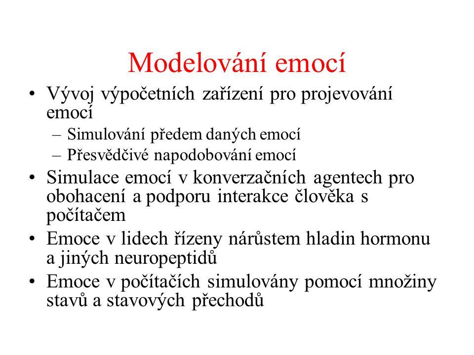Modelování emocí Vývoj výpočetních zařízení pro projevování emocí –Simulování předem daných emocí –Přesvědčivé napodobování emocí Simulace emocí v kon