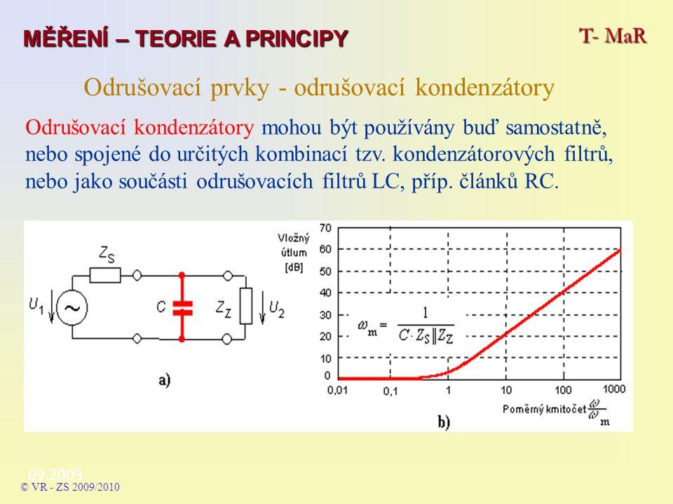 Odrušovací kondenzátory mohou být používány buď samostatně, nebo spojené do určitých kombinací tzv.