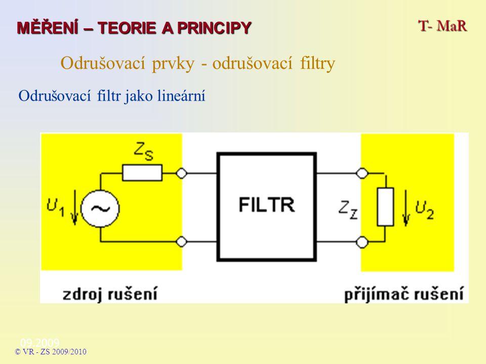 09.2009 T- MaR MĚŘENÍ – TEORIE A PRINCIPY © VR - ZS 2009/2010 Odrušovací prvky - odrušovací filtry Odrušovací filtr jako lineární