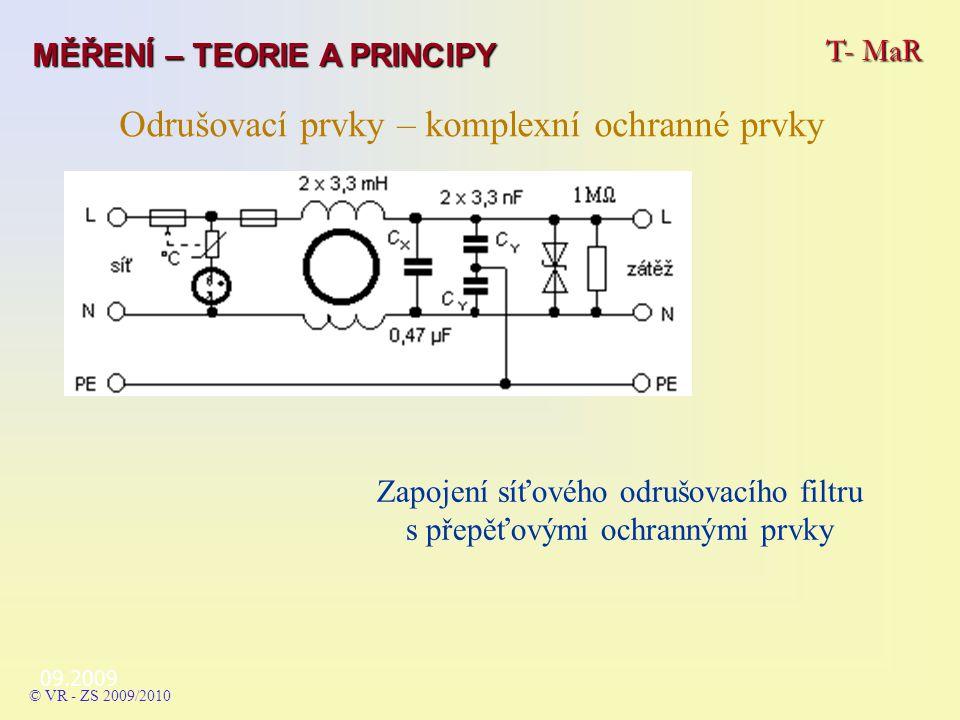 09.2009 T- MaR MĚŘENÍ – TEORIE A PRINCIPY © VR - ZS 2009/2010 Odrušovací prvky – komplexní ochranné prvky Zapojení síťového odrušovacího filtru s přepěťovými ochrannými prvky