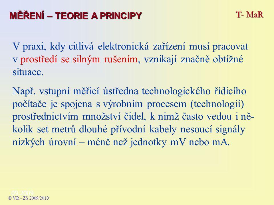 09.2009 T- MaR MĚŘENÍ – TEORIE A PRINCIPY © VR - ZS 2009/2010 V praxi, kdy citlivá elektronická zařízení musí pracovat v prostředí se silným rušením, vznikají značně obtížné situace.