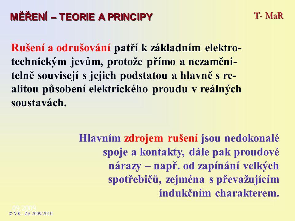 09.2009 T- MaR MĚŘENÍ – TEORIE A PRINCIPY © VR - ZS 2009/2010 Vyhodnocení mžikových poruch: spojité rušení - d) více než dvě poruchy v intervalu 2 s.