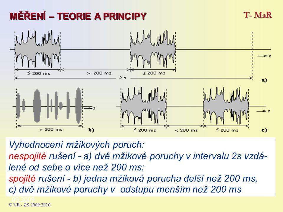 09.2009 T- MaR MĚŘENÍ – TEORIE A PRINCIPY © VR - ZS 2009/2010 Vyhodnocení mžikových poruch: nespojité rušení - a) dvě mžikové poruchy v intervalu 2s vzdá- lené od sebe o více než 200 ms; spojité rušení - b) jedna mžiková porucha delší než 200 ms, c) dvě mžikové poruchy v odstupu menším než 200 ms