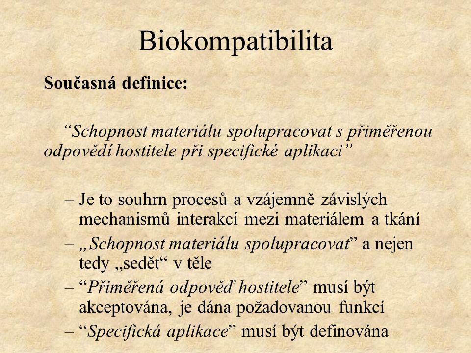 """Biokompatibilita Současná definice: """"Schopnost materiálu spolupracovat s přiměřenou odpovědí hostitele při specifické aplikaci"""" –Je to souhrn procesů"""
