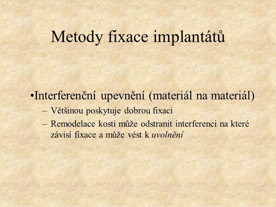 Metody fixace implantátů Interferenční upevnění (materiál na materiál) –Většinou poskytuje dobrou fixaci –Remodelace kosti může odstranit interferenci