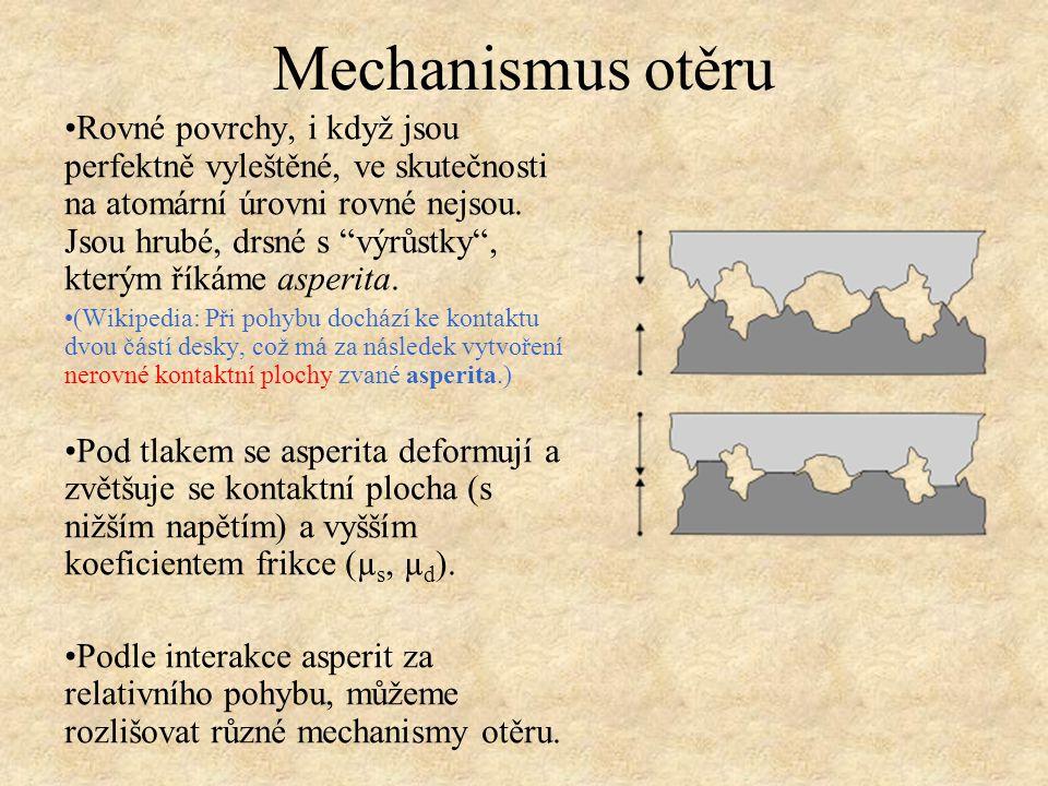 """Mechanismus otěru Rovné povrchy, i když jsou perfektně vyleštěné, ve skutečnosti na atomární úrovni rovné nejsou. Jsou hrubé, drsné s """"výrůstky"""", kter"""