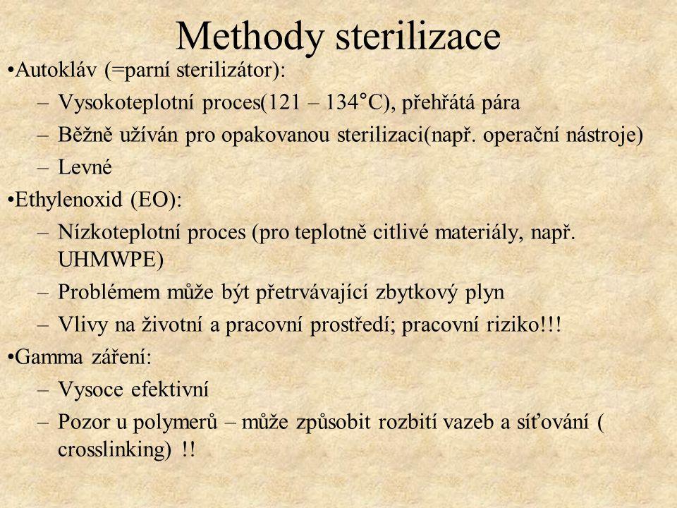 Methody sterilizace Autokláv (=parní sterilizátor): –Vysokoteplotní proces(121 – 134°C), přehřátá pára –Běžně užíván pro opakovanou sterilizaci(např.