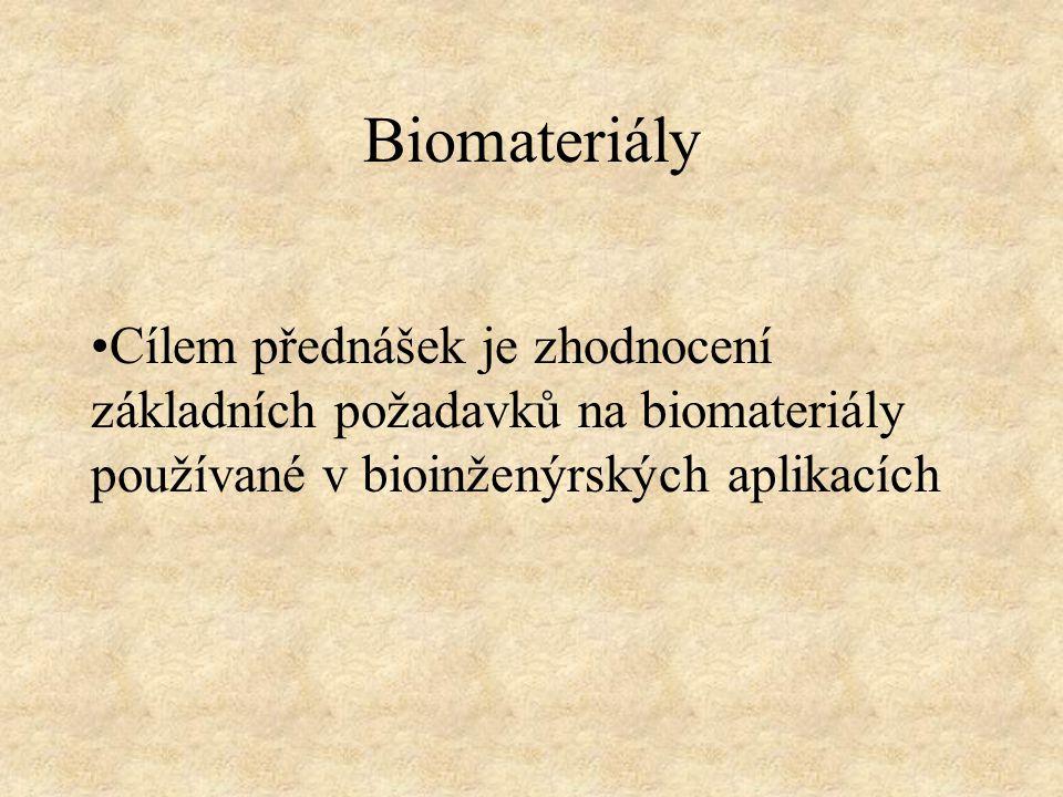 Biomateriály Cílem přednášek je zhodnocení základních požadavků na biomateriály používané v bioinženýrských aplikacích
