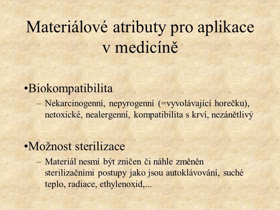 Materiálové atributy pro aplikace v medicíně Biokompatibilita –Nekarcinogenní, nepyrogenní (=vyvolávající horečku), netoxické, nealergenní, kompatibil