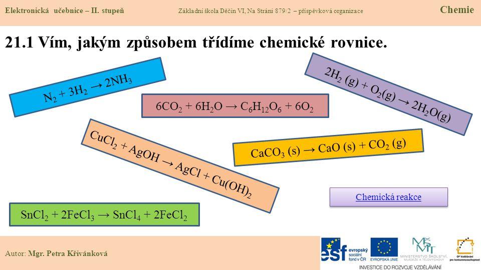 21.1 Vím, jakým způsobem třídíme chemické rovnice.
