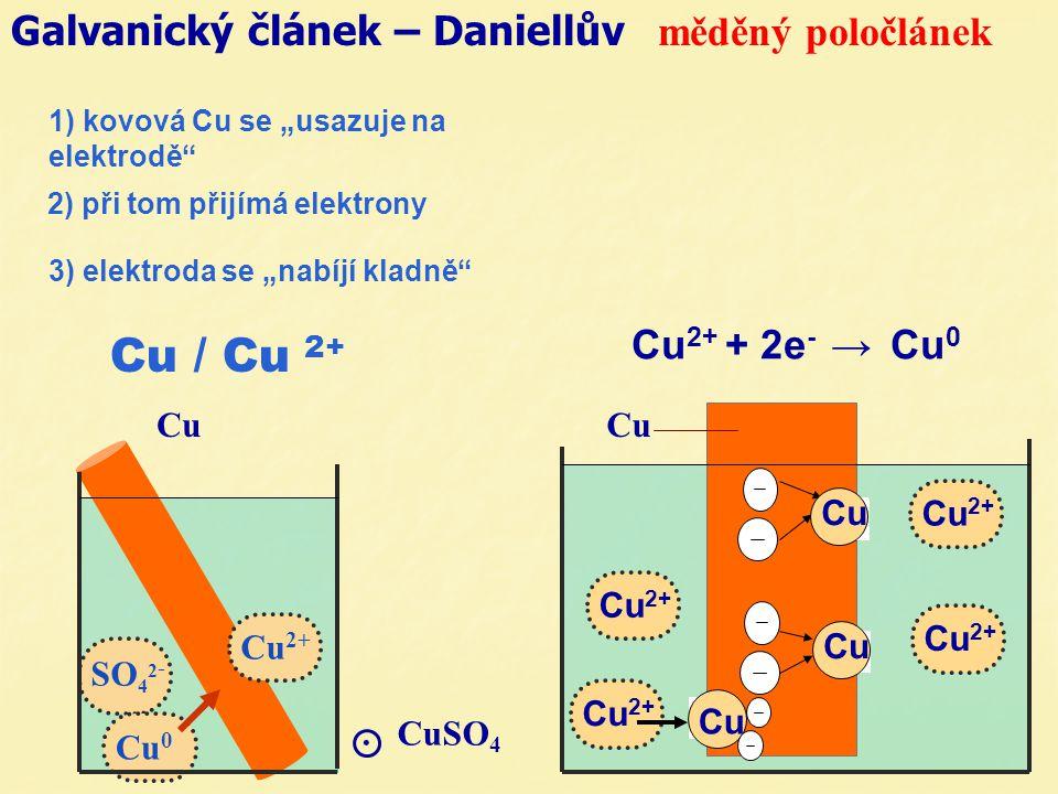"""Galvanický článek – Daniellův měděný poločlánek. CuSO 4 Cu Cu 2+ 3) elektroda se """"nabíjí kladně"""" Cu 2+ Cu Cu 2+ Cu Cu 2+ Cu Cu 2+ + 2e - → Cu 0 Cu 2+"""