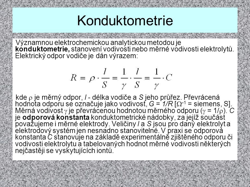 Konduktometrie Významnou elektrochemickou analytickou metodou je konduktometrie, stanovení vodivosti nebo měrné vodivosti elektrolytů. Elektrický odpo