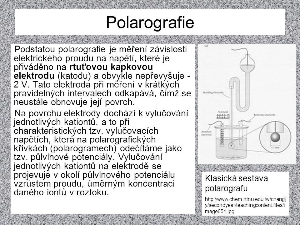 Polarografie Podstatou polarografie je měření závislosti elektrického proudu na napětí, které je přiváděno na rtuťovou kapkovou elektrodu (katodu) a o