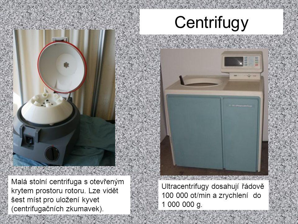 Centrifugy Malá stolní centrifuga s otevřeným krytem prostoru rotoru. Lze vidět šest míst pro uložení kyvet (centrifugačních zkumavek). Ultracentrifug