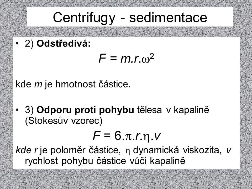 2) Odstředivá: F = m.r.  2 kde m je hmotnost částice. 3) Odporu proti pohybu tělesa v kapalině (Stokesův vzorec) F = 6. .r. .v kde r je poloměr čás