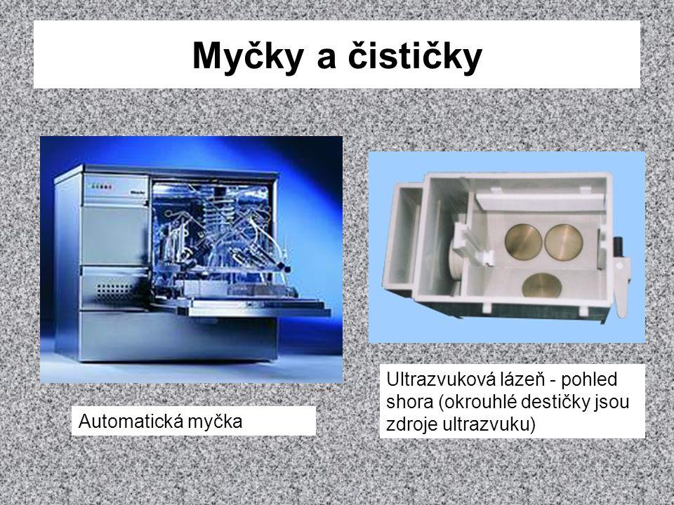 Myčky a čističky Automatická myčka Ultrazvuková lázeň - pohled shora (okrouhlé destičky jsou zdroje ultrazvuku)