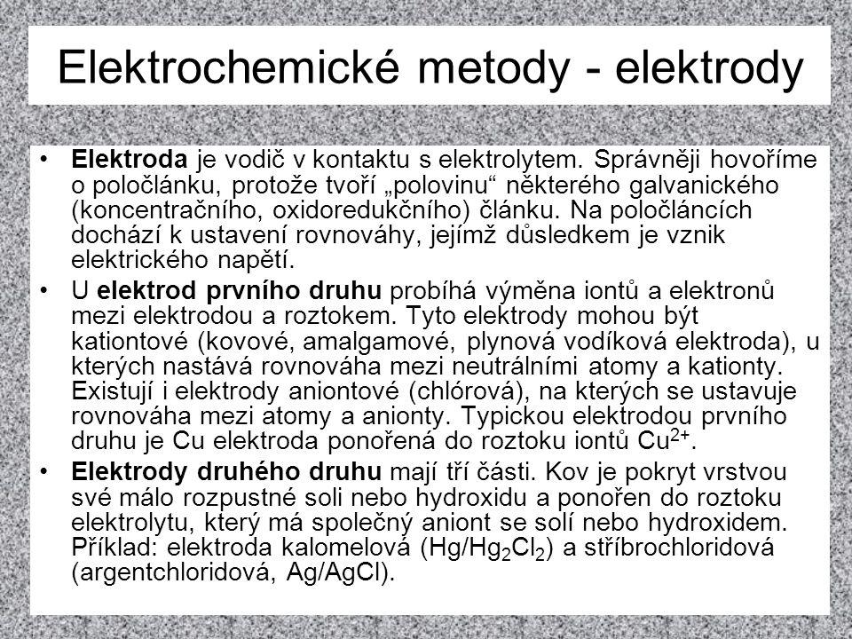 """Elektrochemické metody - elektrody Elektroda je vodič v kontaktu s elektrolytem. Správněji hovoříme o poločlánku, protože tvoří """"polovinu"""" některého g"""