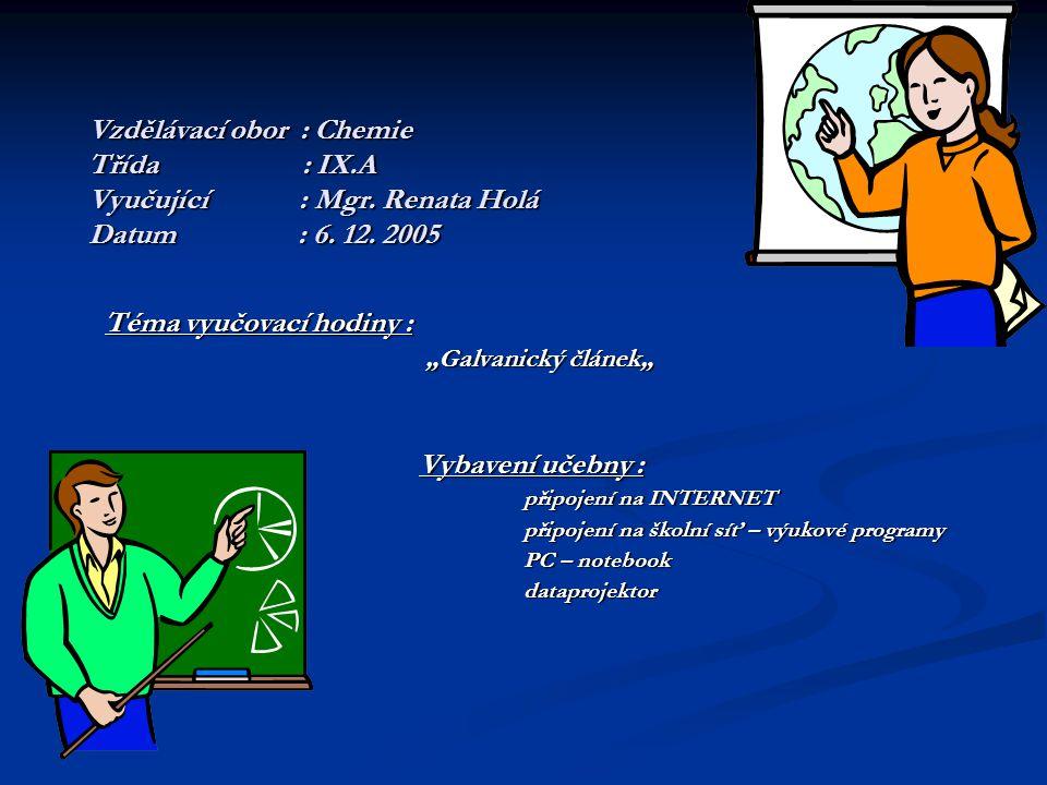Vzdělávací obor : Chemie Třída : IX.A Vyučující : Mgr.