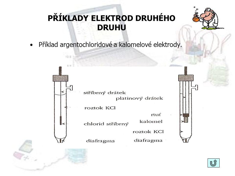 ELEKTRODY DRUHÉHO DRUHU KALOMELOVÁ ELEKTRODA schéma: Hg(l)  Hg 2 Cl 2 (s)  KCl(aq) elektrodový děj: Hg 2 Cl 2 (s) + 2e -  2Hg(l)+2Cl - potenciál el