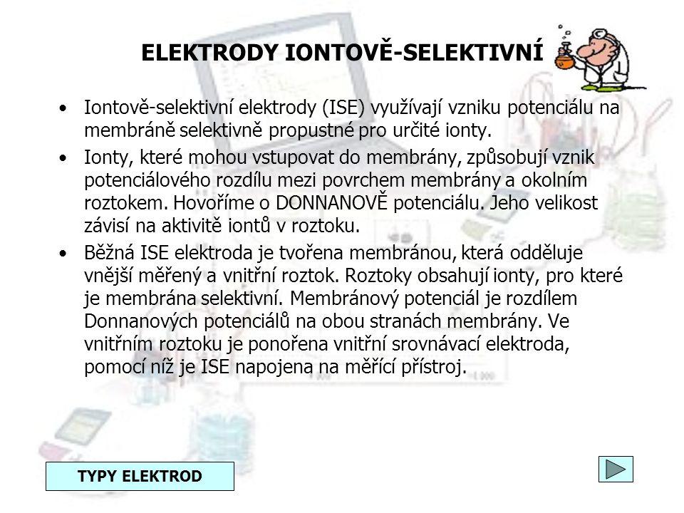 ELEKTRODY REDOXNÍ = elektrody nultého druhu Jsou tvořeny ušlechtilým kovem (platinový nebo zlatý plíšek) ponořeným do roztoku obsahujícího oxidovanou