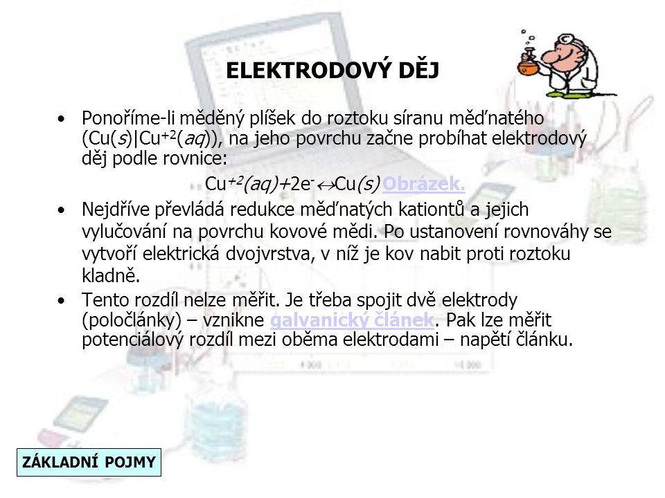 ELEKTRODOVÝ DĚJ Elektrodový děj je oxidačně-redukční reakce umožňující přenos náboje mezi fázemi elektrody. Na základě dohody zapisujeme elektrodový d