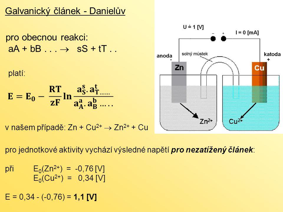 Ni-Cd akumulátor Sekundární články (akumulátory ) konstrukčně se tyto akumulátory podobají akumulátorům NiMH kladná elektroda: 2 NiO(OH) + 2 H 2 O + 2e -  2 Ni(OH) 2 + 2 OH - záporná elektroda: Cd + 2 OH -  Cd(OH) 2 + 2e - vybíjení popisuje celková rovnice: 2 NiO(OH) + Cd + 2H 2 O  2 Ni(OH) 2 + Cd(OH) 2 elektrolytem je hydroxid draselný napětí článku je asi 1,2 V