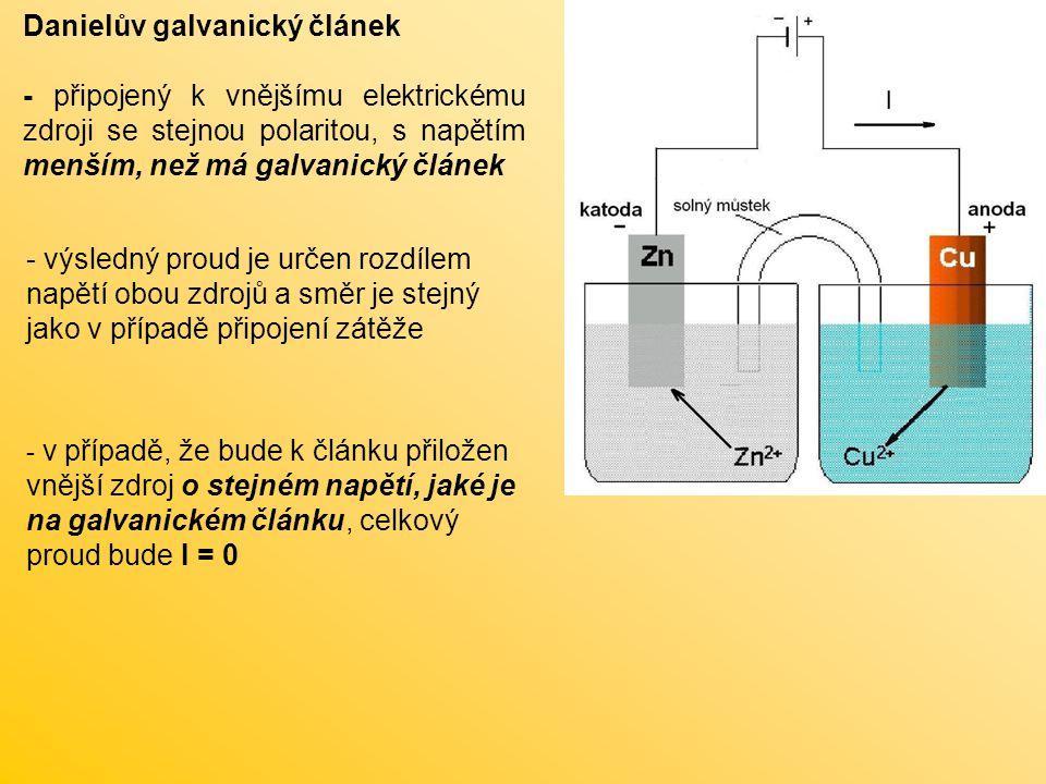 Danielův galvanický článek připojen ke zdroji stejné polarity větší, než napětí galvanického článku - vnucené napětí obrátí směr proudu - procesy na elektrodách probíhají opačným směrem: Zn 2+ + 2e -  Zn Cu  Cu 2+ + 2e - Cu + Zn 2+  Zn + Cu 2+ z hlediska chemického se jedná o pochod, který vede k obnovení výchozího stavu článku, tj.