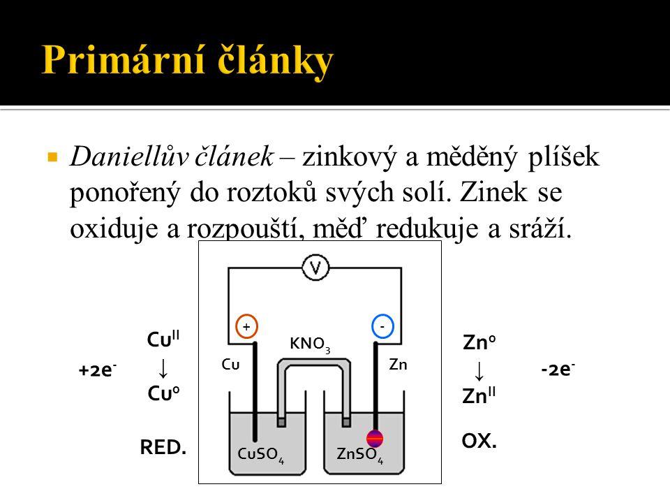  Daniellův článek – zinkový a měděný plíšek ponořený do roztoků svých solí.