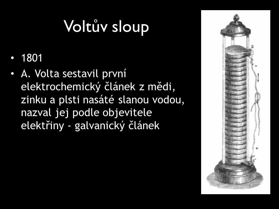 Voltův sloup 1801 A. Volta sestavil první elektrochemický článek z mědi, zinku a plsti nasáté slanou vodou, nazval jej podle objevitele elektřiny - ga