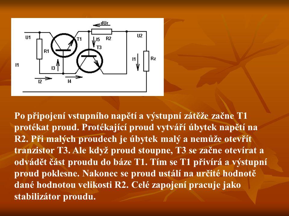 Po připojení vstupního napětí a výstupní zátěže začne T1 protékat proud. Protékající proud vytváří úbytek napětí na R2. Při malých proudech je úbytek