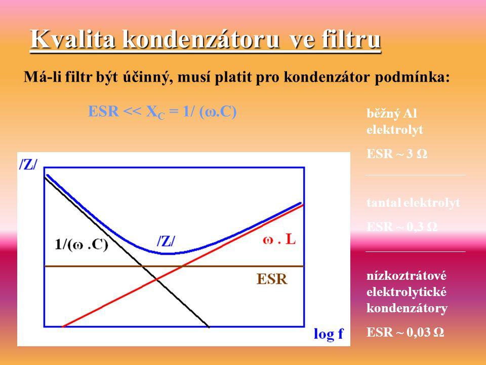 Kvalita kondenzátoru ve filtru Má-li filtr být účinný, musí platit pro kondenzátor podmínka: běžný Al elektrolyt ESR ~ 3 Ω tantal elektrolyt ESR ~ 0,3