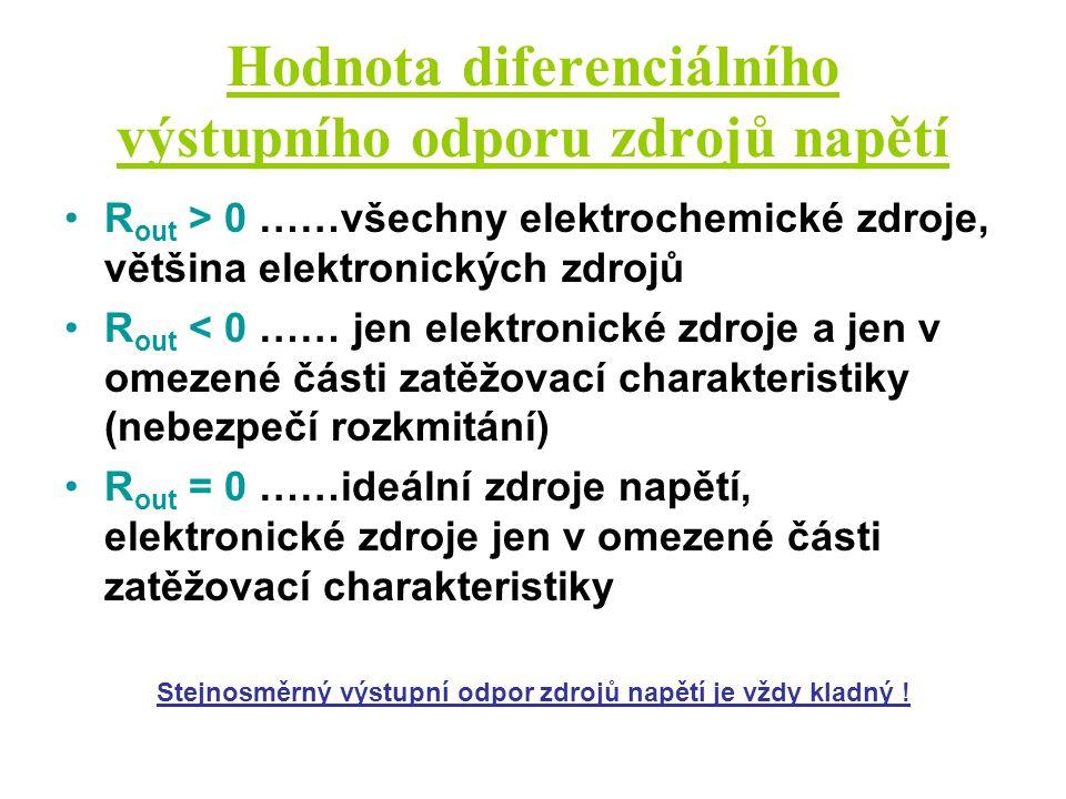 Hodnota diferenciálního výstupního odporu zdrojů napětí R out > 0 ……všechny elektrochemické zdroje, většina elektronických zdrojů R out < 0 …… jen ele